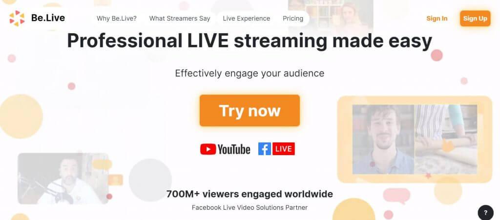 Facebook live y YouTube Live app